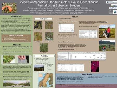 Species Composition at the Sub-meter Level in Discontinuous Permafrost in Subarctic, Sweden Authors: Samantha Anderson 1 Michael W Palace 1, Michael Layne.