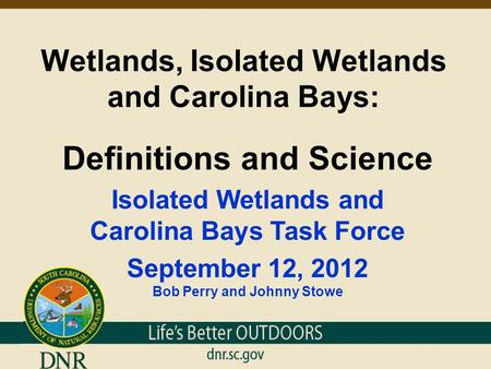 Wetlands, Isolated Wetlands and Carolina Bays: Definitions and Science Isolated Wetlands and Carolina Bays Task Force September 12, 2012 Bob Perry and.