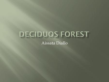 Aissata Diallo.  The temperate deciduous forest has four season of winter, spring, summer, and fall.  Animals and plants have special adaptations.