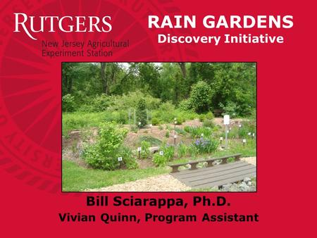 RAIN GARDENS Discovery Initiative Bill Sciarappa, Ph.D. Vivian Quinn, Program Assistant.
