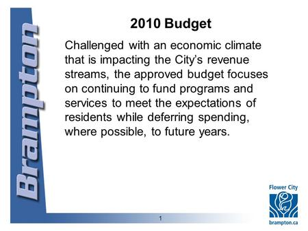 2010 Budget Challenged with an economic climate that is impacting the City's revenue streams, the approved budget focuses on continuing to fund programs.