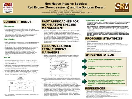 Non-Native Invasive Species: Red Brome (Bromus rubens) and the Sonoran Desert Wendy McCourt and Dr. Eddie Alford (Advisor) Arizona State University, Wanner.