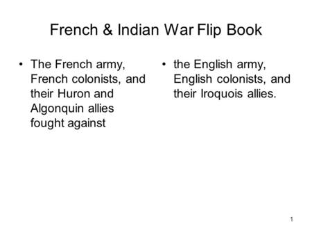 French & Indian War Flip Book