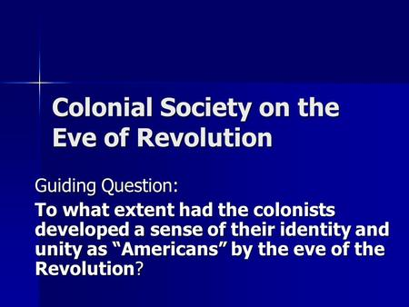 extent had colonists developed sense their identity and un 1 Ap 1998 analyze the extent to which religious freedom existed in the british north american colonies prior to 1700 dbq by 1700 the regions had evolved into two distinct societies why did this difference in development occur use the documents and your knowledge of the colonial period up to 1700 to develop your answer ap 1990 throughout the colonial period, economic concerns had.