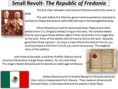 Small Revolt- The Republic of Fredonia