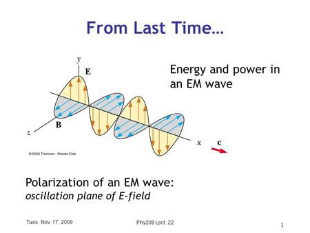 Tues. Nov. 17, 2009Phy208 Lect. 22 1 From Last Time… Energy and power in an EM wave Polarization of an EM wave: oscillation plane of E-field.