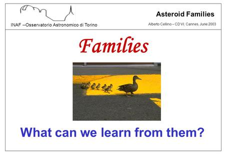Alberto Cellino – CD VI, Cannes, June 2003 INAF --Osservatorio Astronomico di Torino Asteroid Families Families What can we learn from them?