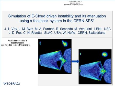 IPAC10, Kyoto, Japan, May 23-28, 2010 E-cloud feedback simulations - Vay et al. 1 Simulation of E-Cloud driven instability and its attenuation using a.