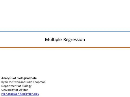 Multiple Regression Analysis of Biological Data