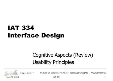 Jan 20, 2011IAT 3341 IAT 334 Interface Design Cognitive Aspects (Review) Usability Principles ______________________________________________________________________________________.