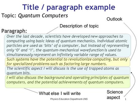 Physics Education Department-UNS 1 Title / paragraph example Topic: Quantum Computers Paragraph: Over the last decade, scientists have developed new approaches.