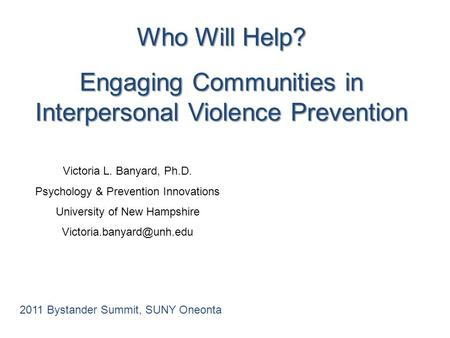 Engaging Communities in Interpersonal Violence Prevention