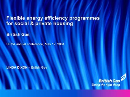 Flexible energy efficiency programmes for social & private housing British Gas HECA annual conference, May 12, 2004 LINDA DIXON – British Gas.