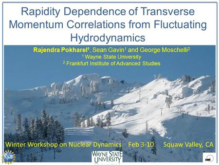 Rapidity Dependence of Transverse Momentum Correlations from Fluctuating Hydrodynamics Rajendra Pokharel 1, Sean Gavin 1 and George Moschelli 2 1 Wayne.