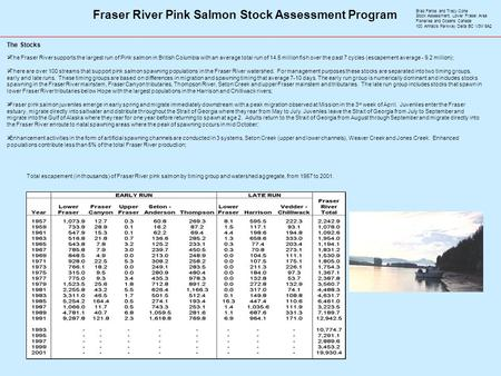 Fraser River Pink Salmon Stock Assessment Program  The Fraser River supports the largest run of Pink salmon in British Columbia with an average total.