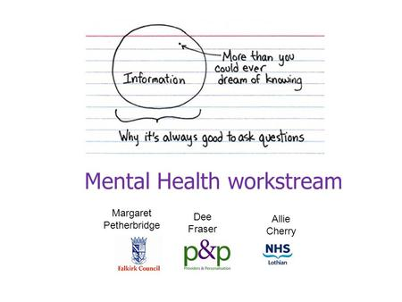 Mental Health workstream Margaret Petherbridge Dee Fraser Allie Cherry.