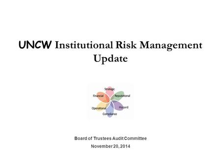 UNCW Institutional Risk Management Update Board of Trustees Audit Committee November 20, 2014.