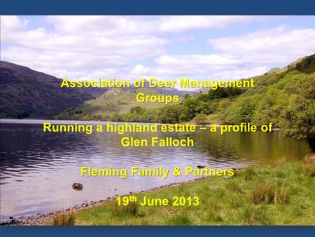 OVERVIEW Association of Deer Management Groups Running a highland estate – a profile of Glen Falloch Fleming Family & Partners 19 th June 2013.