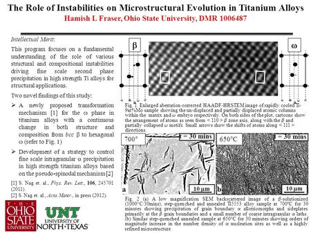 The Role of Instabilities on Microstructural Evolution in Titanium Alloys Hamish L Fraser, Ohio State University, DMR 1006487 Intellectual Merit: This.