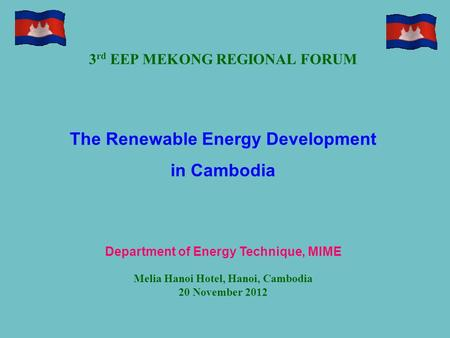 The Renewable Energy Development in Cambodia