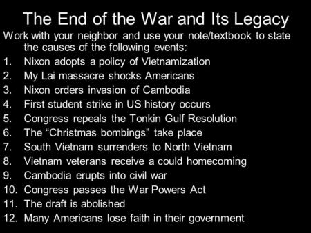 The End of the War and Its Legacy