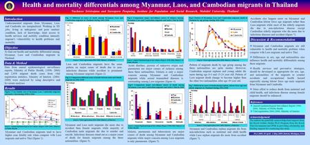 Health and mortality differentials among Myanmar, Laos, and Cambodian migrants in Thailand Nucharee Srivirojana and Sureeporn Punpuing, Institute for Population.