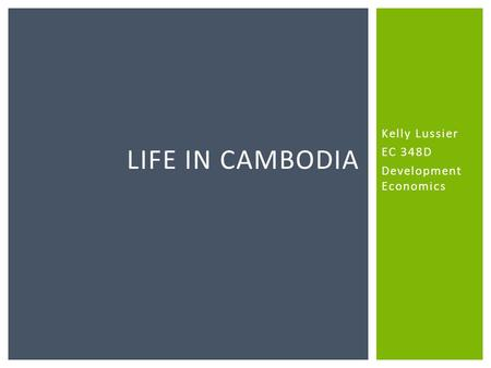Kelly Lussier EC 348D Development Economics LIFE IN CAMBODIA.