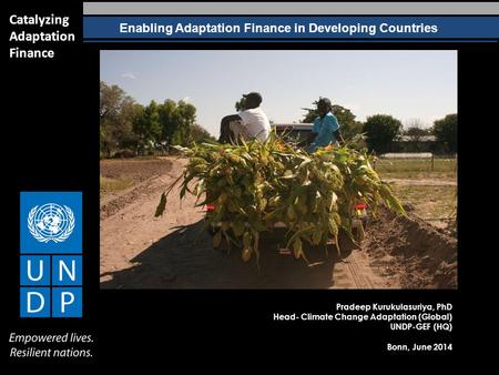 Enabling Adaptation Finance in Developing Countries Catalyzing Adaptation Finance Pradeep Kurukulasuriya, PhD Head- Climate Change Adaptation (Global)