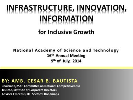 National Academy of Science and Technology 16 th Annual Meeting 9 th of July, 2014 BY: AMB. CESAR B. BAUTISTA Chairman, MAP Committee on National Competitiveness.