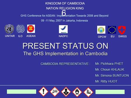 PRESENT STATUS ON The GHS Implementation in Cambodia CAMBODIA REPRESENTATIVE : KINGDOM OF CAMBODIA NATION RELIGION KING GHS Conference for ASEAN: Implementation.