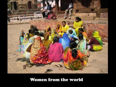 Women from the world Stupa at Katmadu, Nepal Durbar Square, Katmandu, Nepal.
