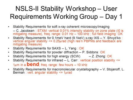 NSLS-II Stability Workshop – User Requirements Working Group – Day 1 Stability Requirements for soft x-ray coherent microscopy/imaging -- C. Jacobsen :