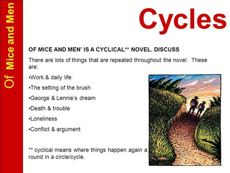 Of Mice and Men OF MICE AND MEN' IS A CYCLICAL** NOVEL. DISCUSS There are lots of things that are repeated throughout the novel. These are: Work & daily.