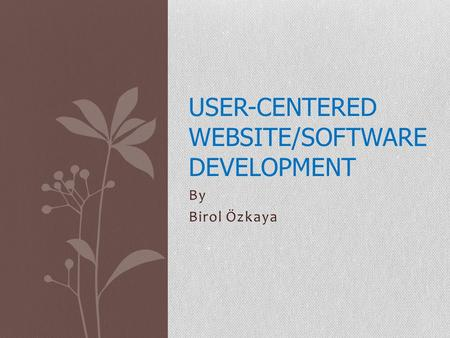 By Birol Özkaya USER-CENTERED WEBSITE/SOFTWARE DEVELOPMENT.