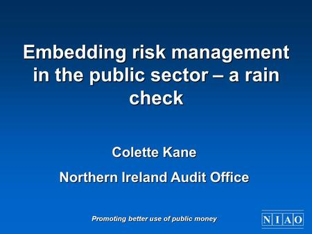 Embedding risk management in the public sector – a rain check