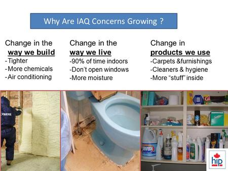 Change in the way we build -Tighter -More chemicals -Air conditioning IAQ…Why is it a bigger issue than ever? Change in the way we live -90% of time indoors.