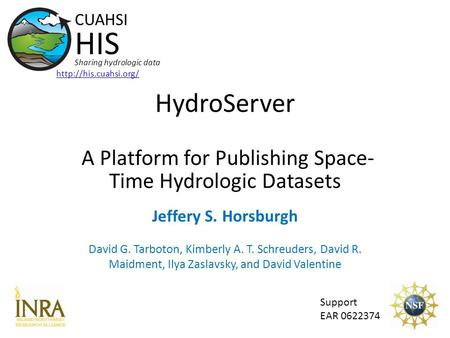 HydroServer A Platform for Publishing Space- Time Hydrologic Datasets Support EAR 0622374 CUAHSI HIS Sharing hydrologic data  Jeffery.