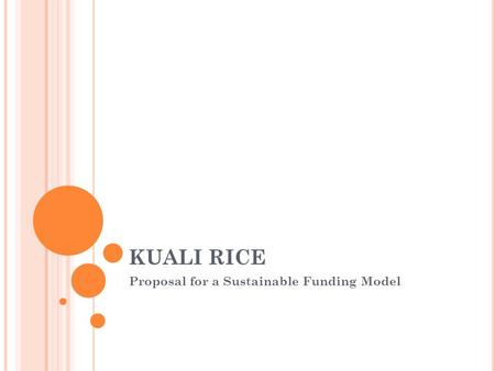 KUALI RICE Proposal for a Sustainable Funding Model.