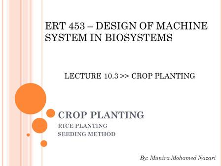 RICE PLANTING SEEDING METHOD