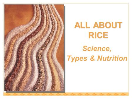ALL ABOUT RICE Science, Types & Nutrition. Rice Classification Categorized by: 1.Degree of Milling 2.Kernel Size 3.Starch Content 4.Flavor.