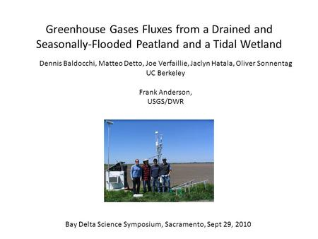 Greenhouse Gases Fluxes from a Drained and Seasonally-Flooded Peatland and a Tidal Wetland Dennis Baldocchi, Matteo Detto, Joe Verfaillie, Jaclyn Hatala,