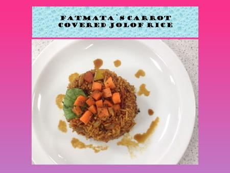 Fatmata`s Carrot covered Jolof Rice. 1) First I cut my vegetables; tomatoes, garlic, carrots, peppers. 2) Then I put my vegetables aside and then started.
