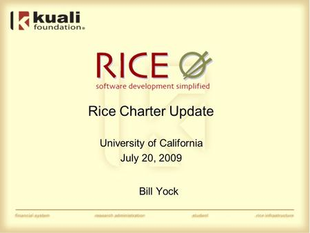 Rice Charter Update University of California July 20, 2009 Bill Yock.