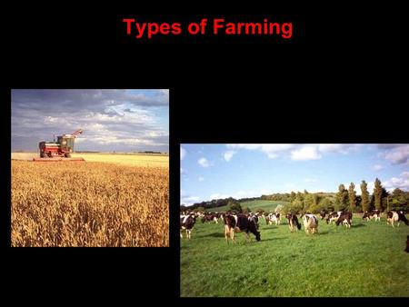 Types of Farming Commercial farming - the production of food for sale. Usually LARGE tracts of land. Capital Intensive – Use of Equipment over people.