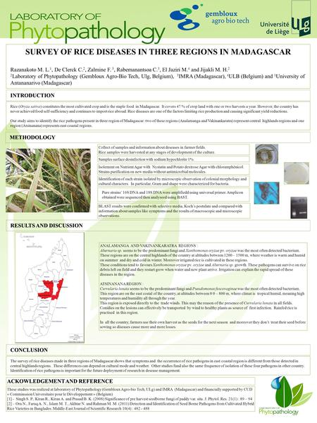 SURVEY OF RICE DISEASES IN THREE REGIONS IN MADAGASCAR Razanakoto M. L. 1, De Clerck C. 2, Zalmine F. 3, Rabemanantsoa C. 3, El Jaziri M. 4 and Jijakli.