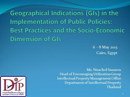 Geographical Indications (GIs) in the Implementation of Public Policies: Best Practices and the Socio-Economic Dimension of GIs 6 – 8 May 2013 Cairo,