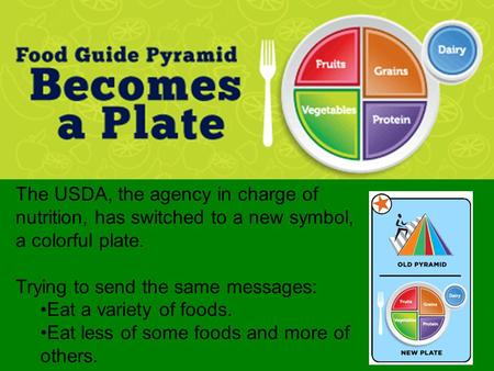 The USDA, the agency in charge of nutrition, has switched to a new symbol, a colorful plate. Trying to send the same messages: Eat a variety of foods.