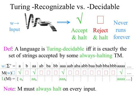 Turing -Recognizable vs. -Decidable