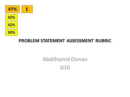 PROBLEM STATEMENT ASSESSMENT RUBRIC Abdilhamid Osman G10 42% 50% 42% 47% E.