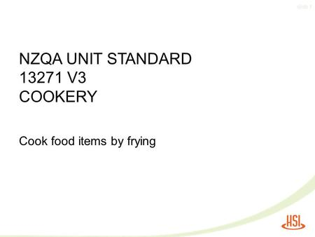 NZQA UNIT STANDARD V3 COOKERY